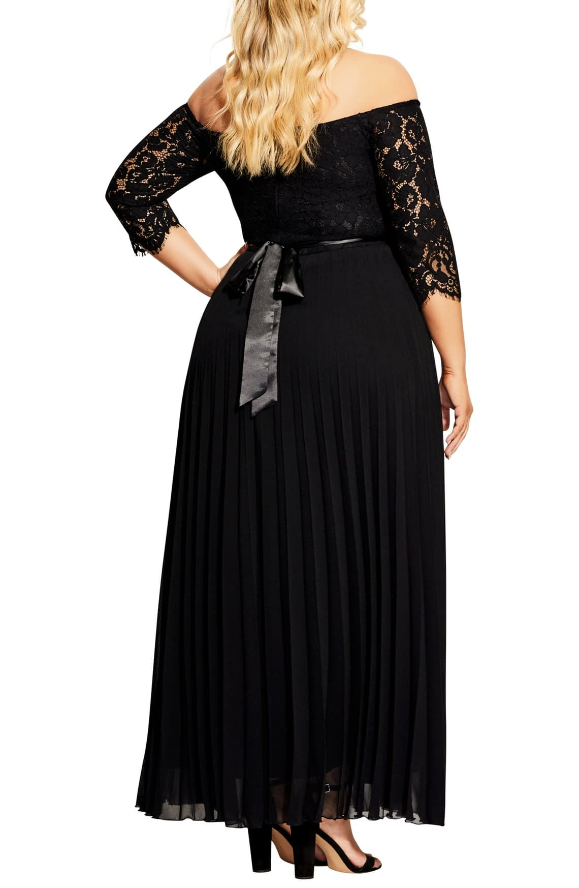 City chic intriguing off the shoulder lace bodice maxi