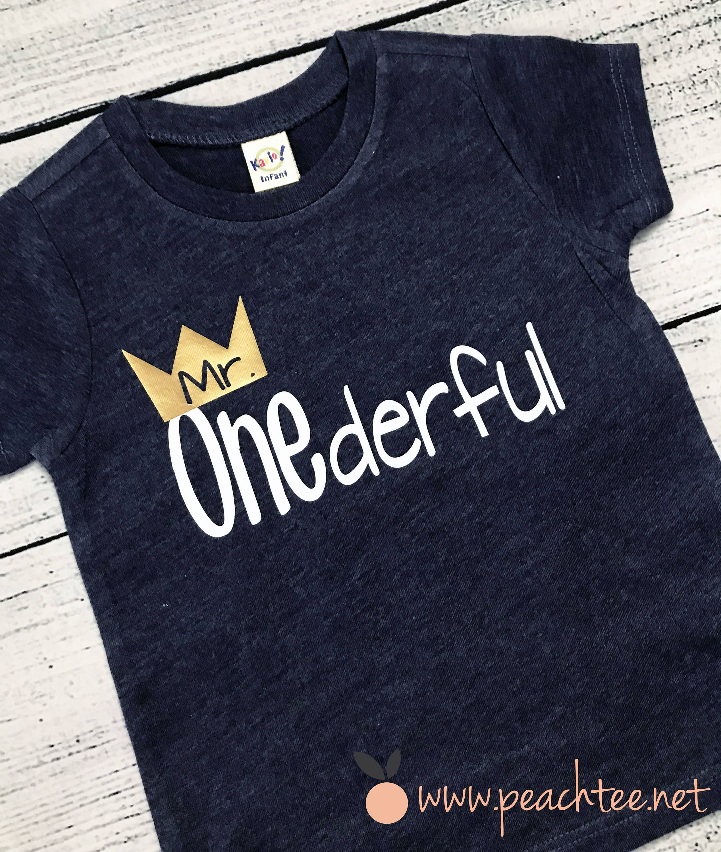 Boy First Birthday Mr Onederful Shirt Boys By PeachTeeCo On
