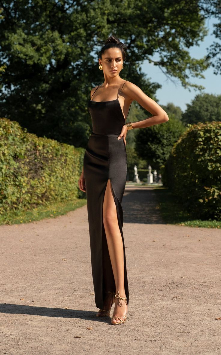 Photo of Langes schwarzes Satin-Kleid Cocktail-Party-Kleid Entdecken Sie d