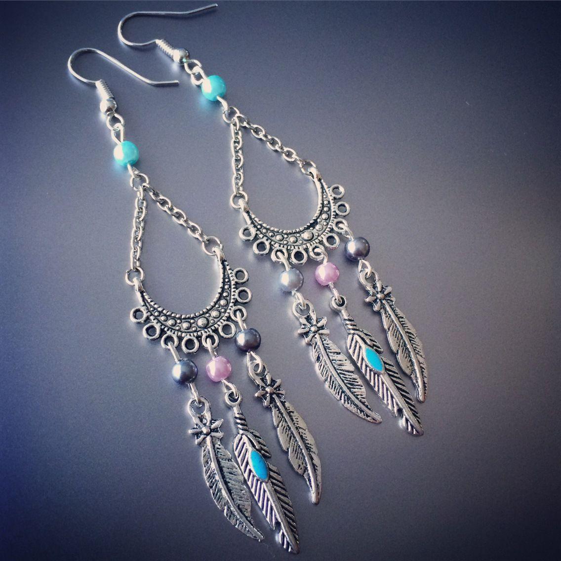 Boucles d'oreilles dreamcatcher attrape-reves boho bohemian gypsy hippie plumes : Boucles d'oreille par stormglitter
