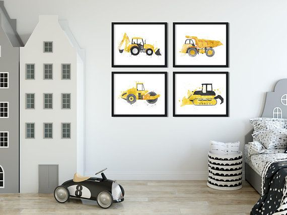 Excavator Print Digger Printable Boy Room Wall Art Toddler Bedroom