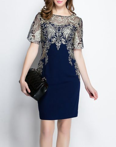 Check the details and price of this Illusion Yoke Embroidery Mesh Sheath Mini Dress (Dark Blue, YZXH) and buy it online. VIPme.com offers high-quality Day Dresses at affordable price.