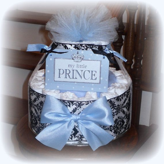 My Little Prince Diaper Cake Baby Shower Centerpiece Gift Blue And Black Toile Boy Decorations via Etsy