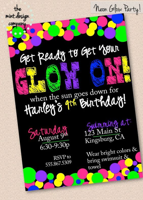 25 Glow in the Dark Quinceanera Ideas – Glow in the Dark Party Invitation Ideas