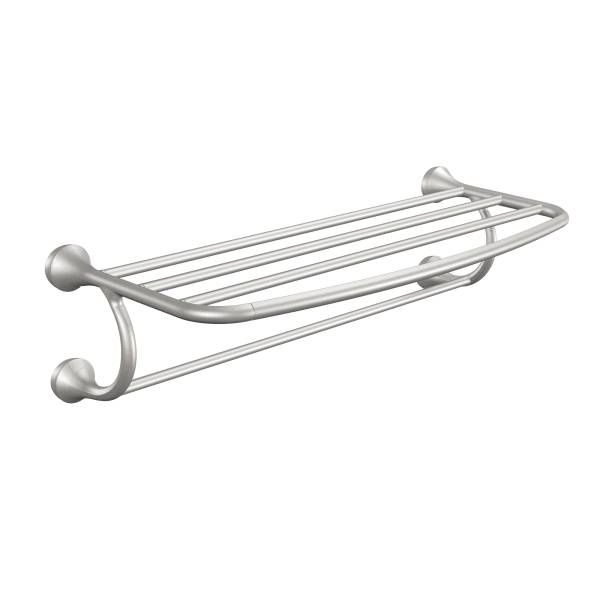This #Eva brushed nickel towel shelf has petal-like handles and swan-like spout to bring a relaxed feel to a #bathroom. With its elegant design, it creates a luxurious style of an upscale hotel in a home.