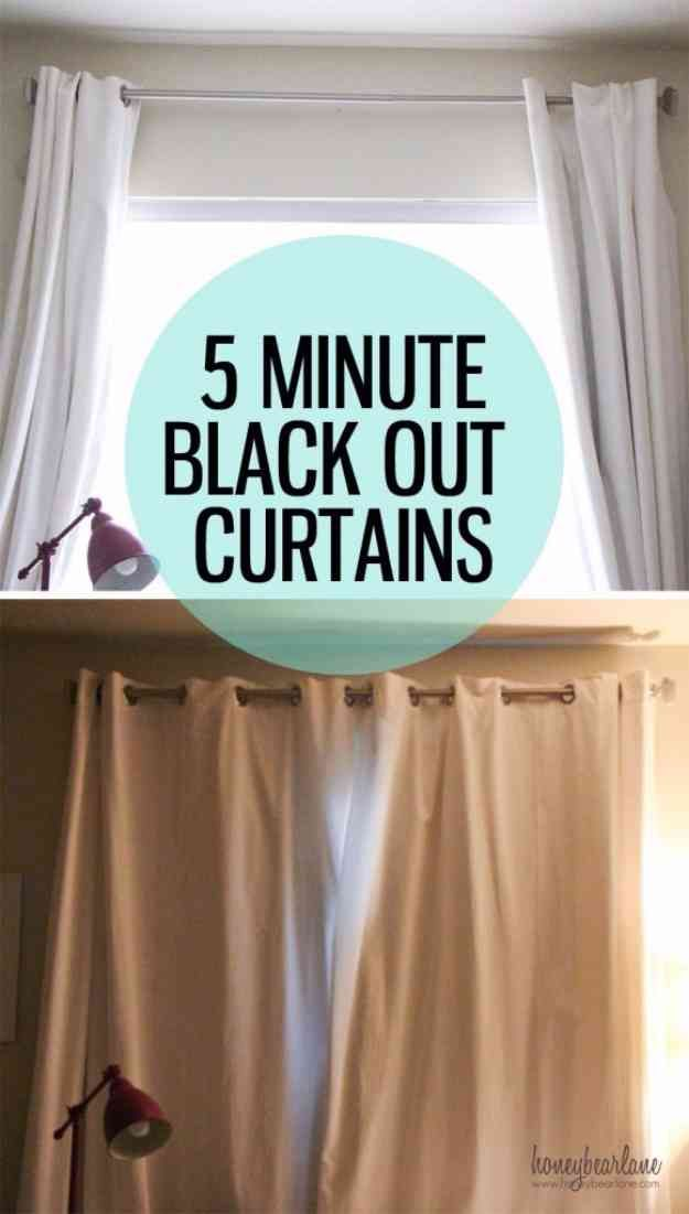 27 Simple Sewing Projects To Make In Less Than 5 Minutes Diy Blackout Curtains Diy Curtains