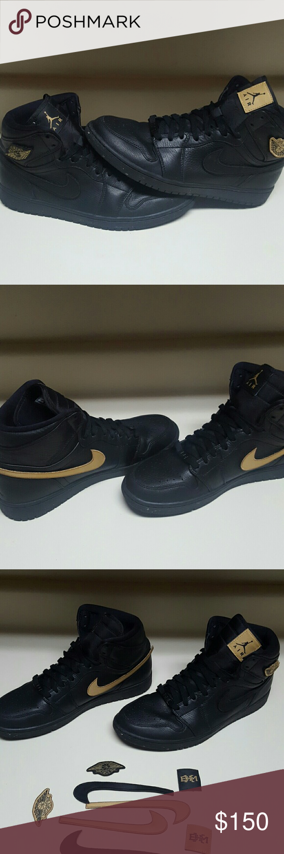 a5b38e71825 Air Jordan 1 Retro High BHM Size 11 Air Jordan 1 | Black && Metallic Gold  Colorway | Changeable Velcro Decals | 10/10 Condition | Will ship with box!