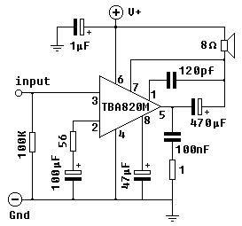 mini power amplifier circuit 2w 2w using tba820m power amplifiers in 2019 audio amplifier. Black Bedroom Furniture Sets. Home Design Ideas