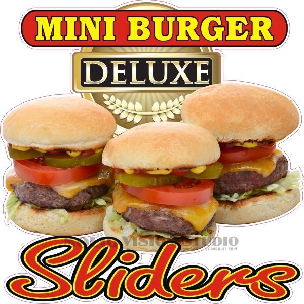 24 sliders mini burger hamburger cheeseburger concession food truck sign decal solidvisionstudio