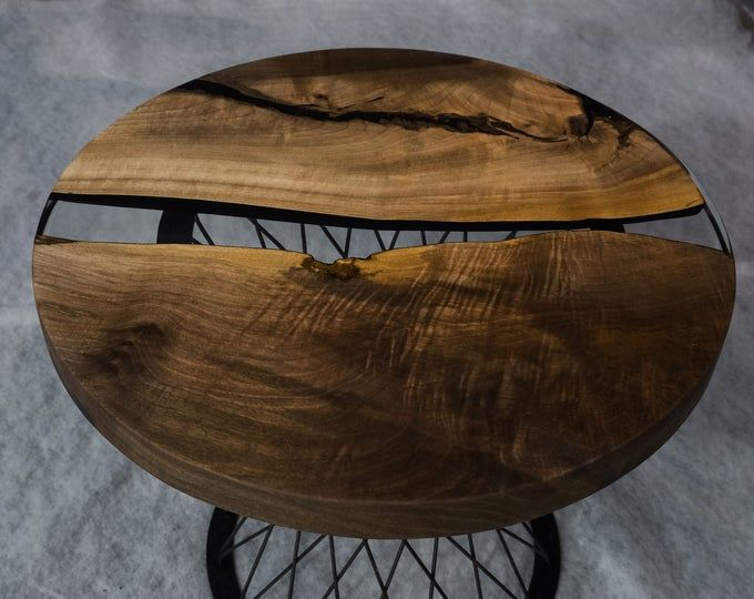 Walnut coffee table with River Rock garden in 2020
