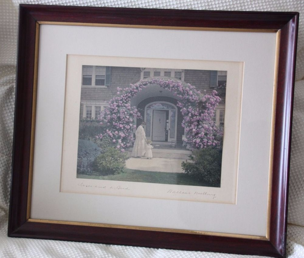 """Wallace Nutting, """"Roses and a Bud"""" Classic Nutting Hand Painted Photo"""