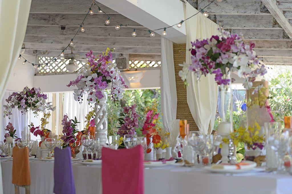 Fresh Orchids Multi Color Wedding Decor Venue Kukua Punta Cana