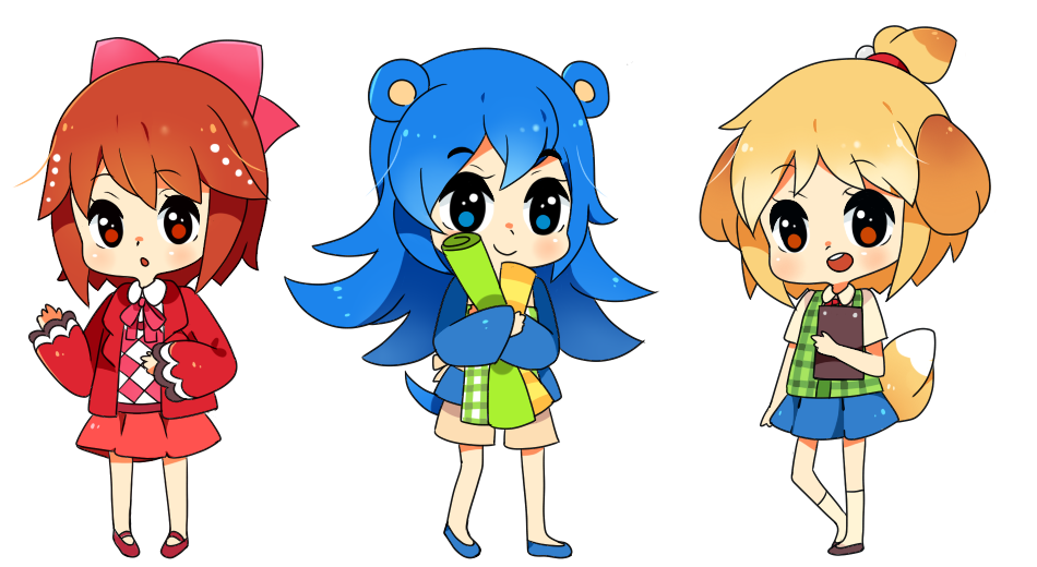 Chibi practice c:Celeste, Mabel and Isabelle gijinka! Aaah! And thanks for +350 followers, it's a lot for me ^w^
