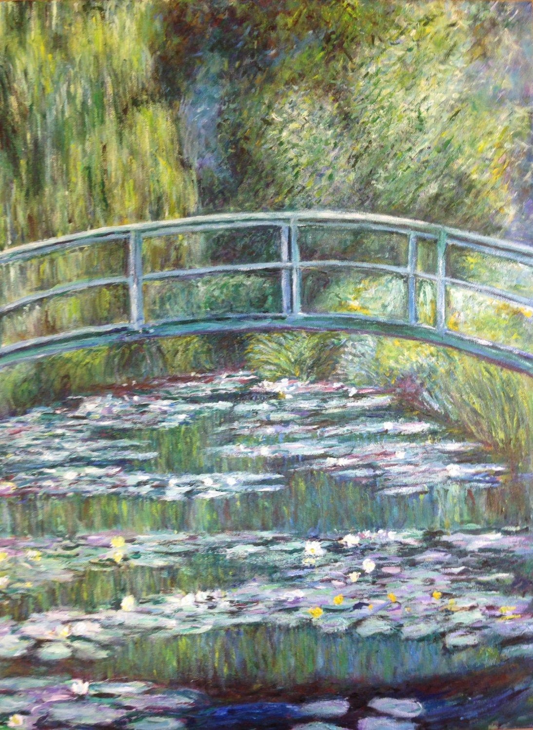 Hand Painted 18x24 Claude Monet Bridge Over A Pond Of Waterlilies