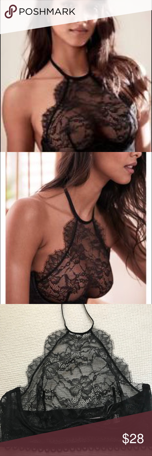 71e43e8db0af7 34C High Neck bralette by Victoria s Secret 34C size high neck lace unlined  demi bra by Victoria s Secret. Underwire cups. Adjustable straps