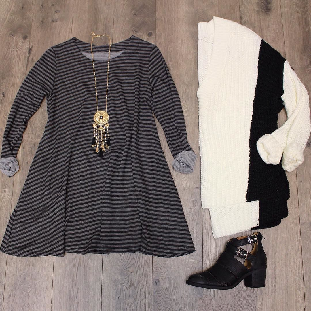 Casual Cutie  Kayla Stripe Shift $42. Deeply V Sweater $42. Bronze Tassel Pendant $22. Bailey Buckle Bootie In Black $46.  #casual #monochromatic #elysianlove #flatlay #stripes http://ift.tt/1k15J6g Casual Cutie  Kayla Stripe Shift $42. Deeply V Sweater $42. Bronze Tassel Pendant $22. Bailey Buckle Bootie In Black $46.  #casual #monochromatic #elysianlove #flatlay #stripes
