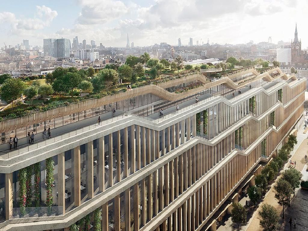 Google Office In London Deepmind Google Files Plans For Incredible Groundscraper Headquarters In Londons Kings C Rooftop Garden London Real Estate Architecture