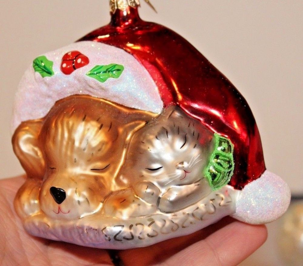 Christopher Radko Pet Pals Dog Puppy Cat Kitten In Santa Hat Charity