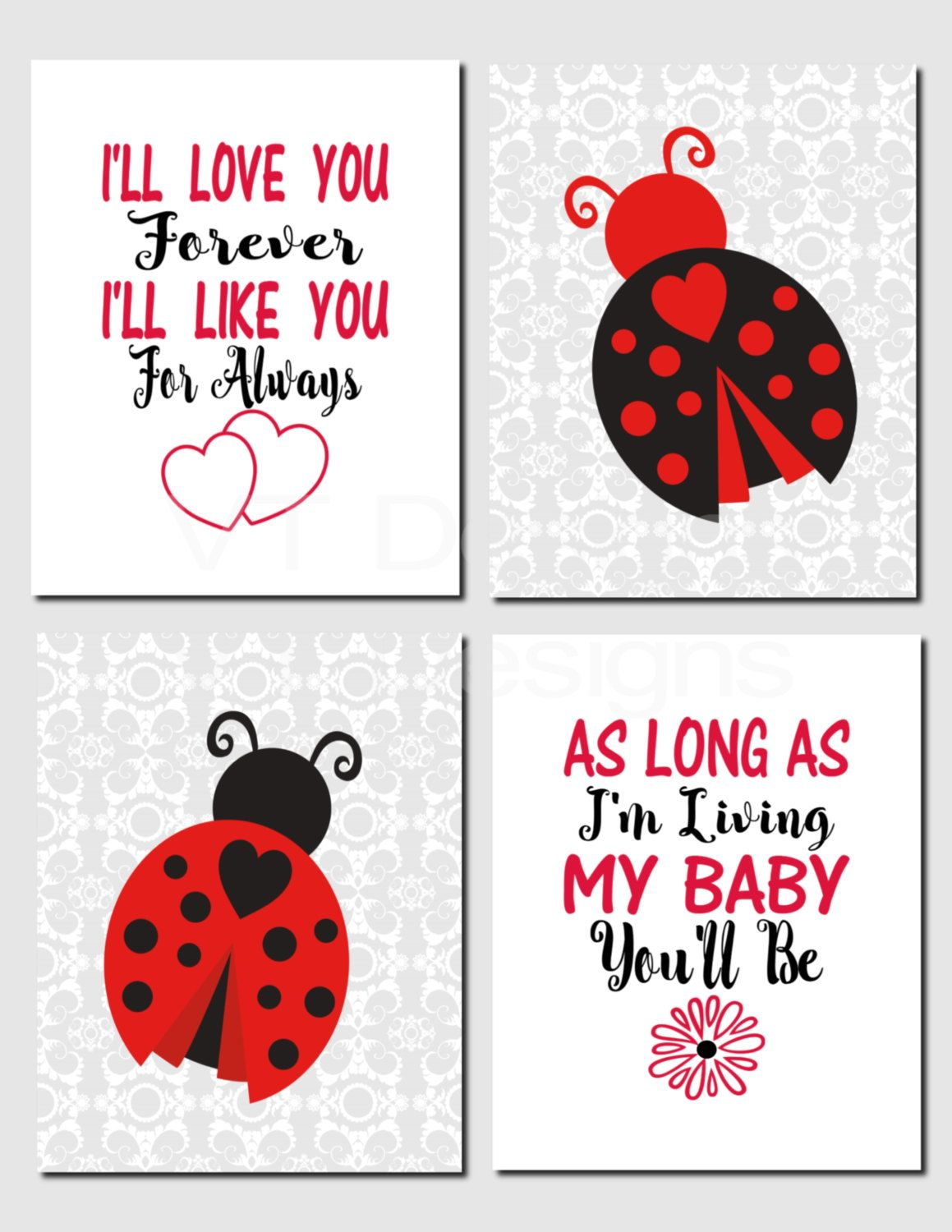 Ladybug Nursery Art Baby Kids Wall I Ll Love You Forever Black Red Decor Set Of 4 Prints Or Canvas By Vtdesigns On