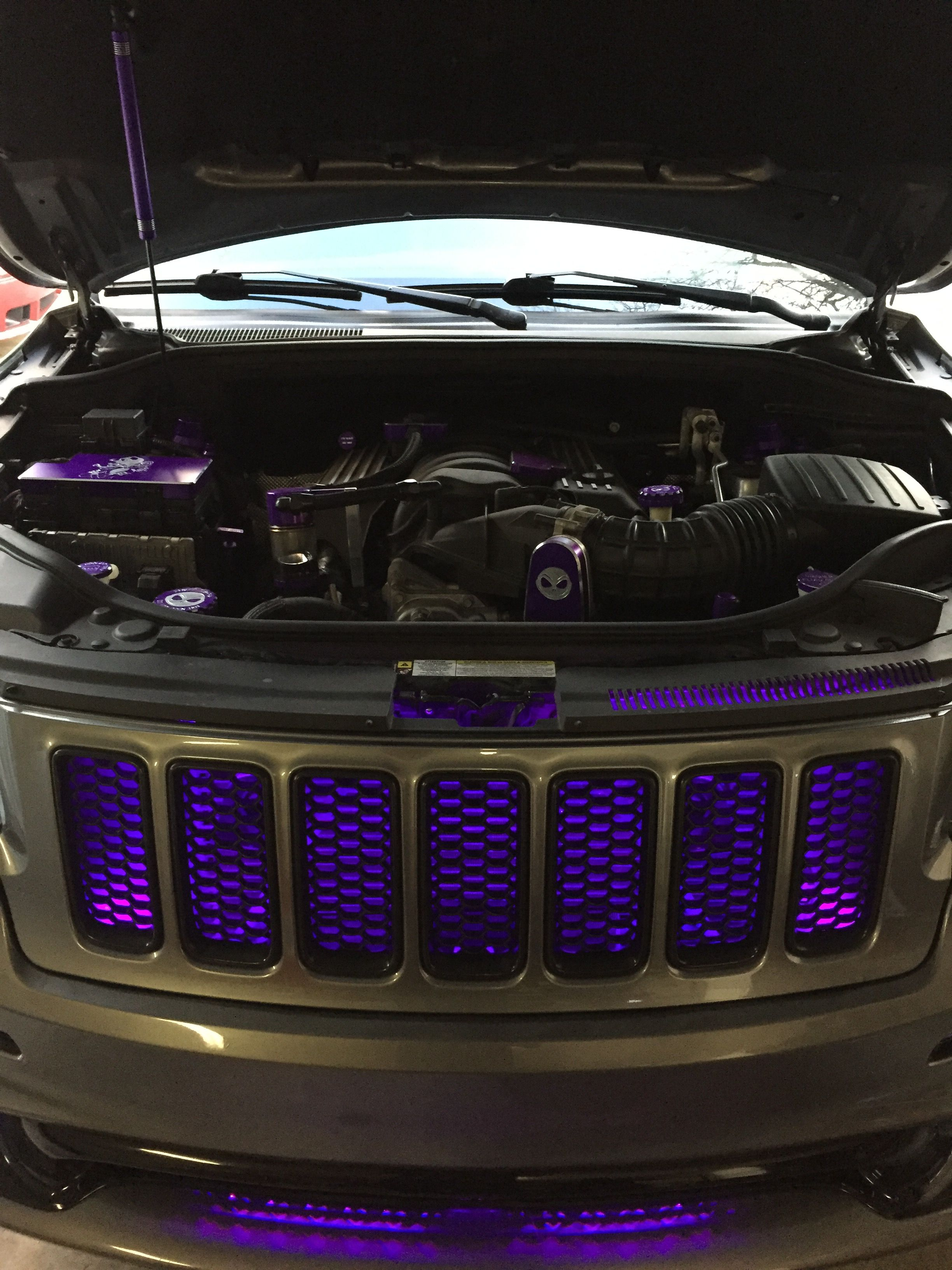 small resolution of 2012 jeep grand cherokee srt8 graphite with purple grill lights and purple billet technology under hood trim kit
