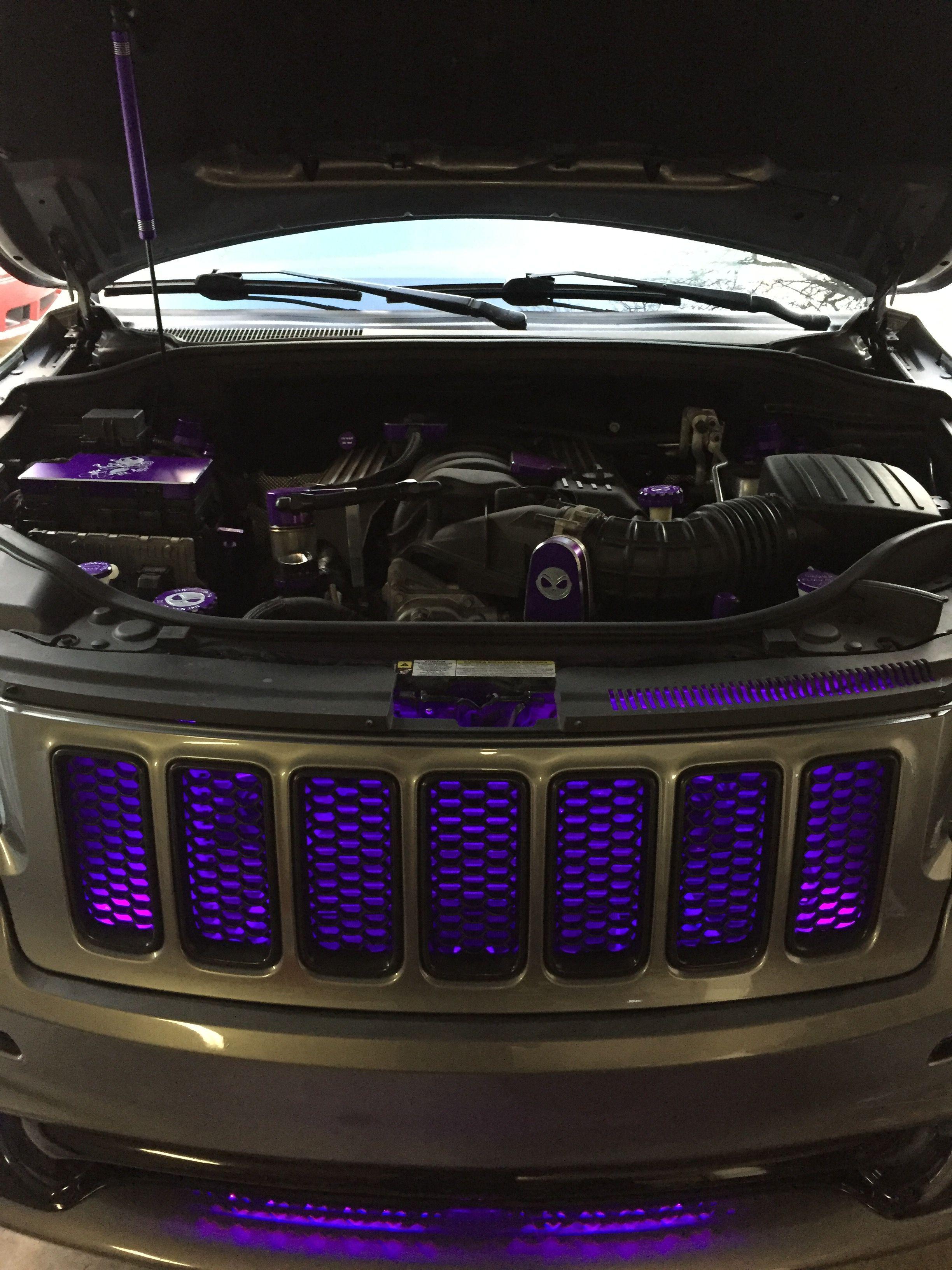 medium resolution of 2012 jeep grand cherokee srt8 graphite with purple grill lights and purple billet technology under hood trim kit
