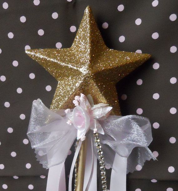 Gold Princess Wand with Pink Ribbons by paulawellsstudio on Etsy, $11.00