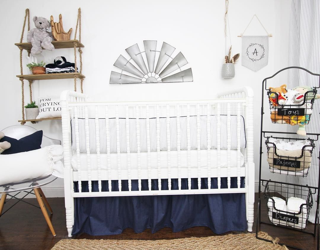 Tick(ing Stripe) Tock Tick Tock... Baby Is Coming! This Farmhouse Inspired  Baby Bedding Set Is The Perfect Nursery Decor For Your Sweet Baby To Be!