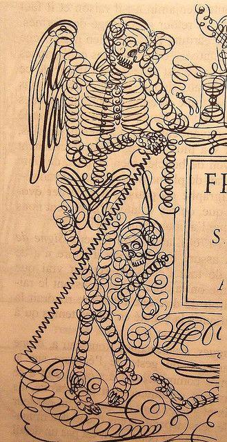 Cadre Macabre by Francesco Pisani, (calligrapher, 1630) Histoire et Art de L'écriture', Marcel Cohen, Jerome Peignot, 2005)
