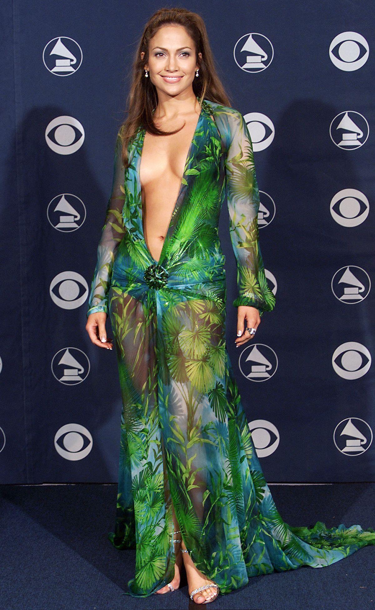 Jennifer Lopez Naked Green Versace Dress On The Red Carpet