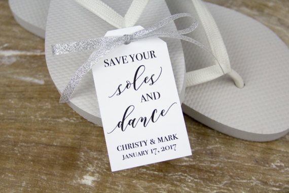 5300a54dbbb4 Save your soles and dance - Flip Flop Tags - Slipper tags - Wedding Tags - Wedding  Favor Tags - Cust