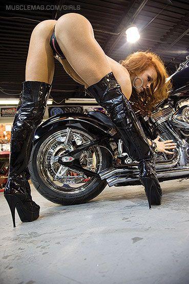 over bending hot Bike girls