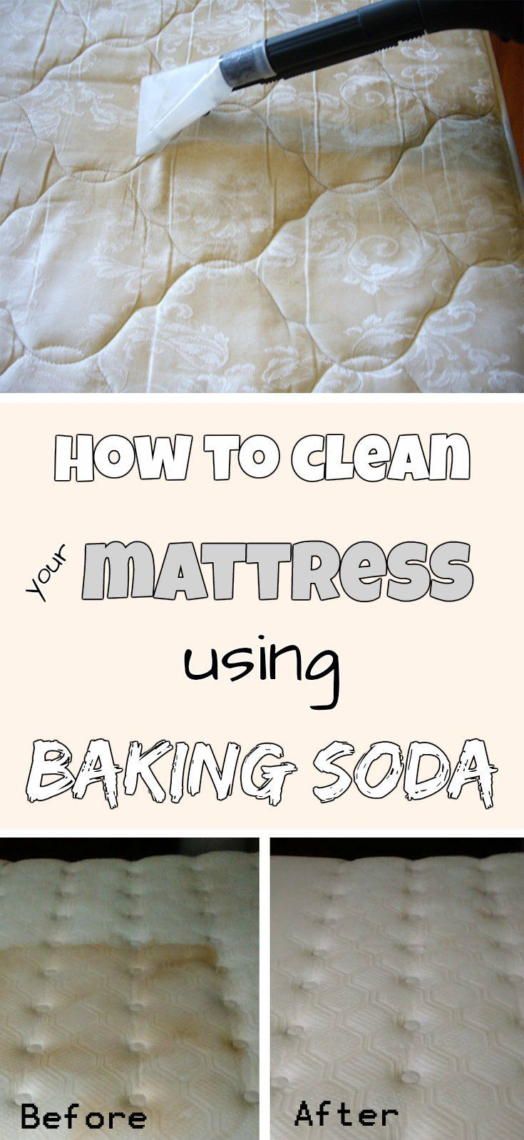 How To Clean Your Mattress Using Baking Soda Mattress Cleaning Cleaning Hacks House Cleaning Tips