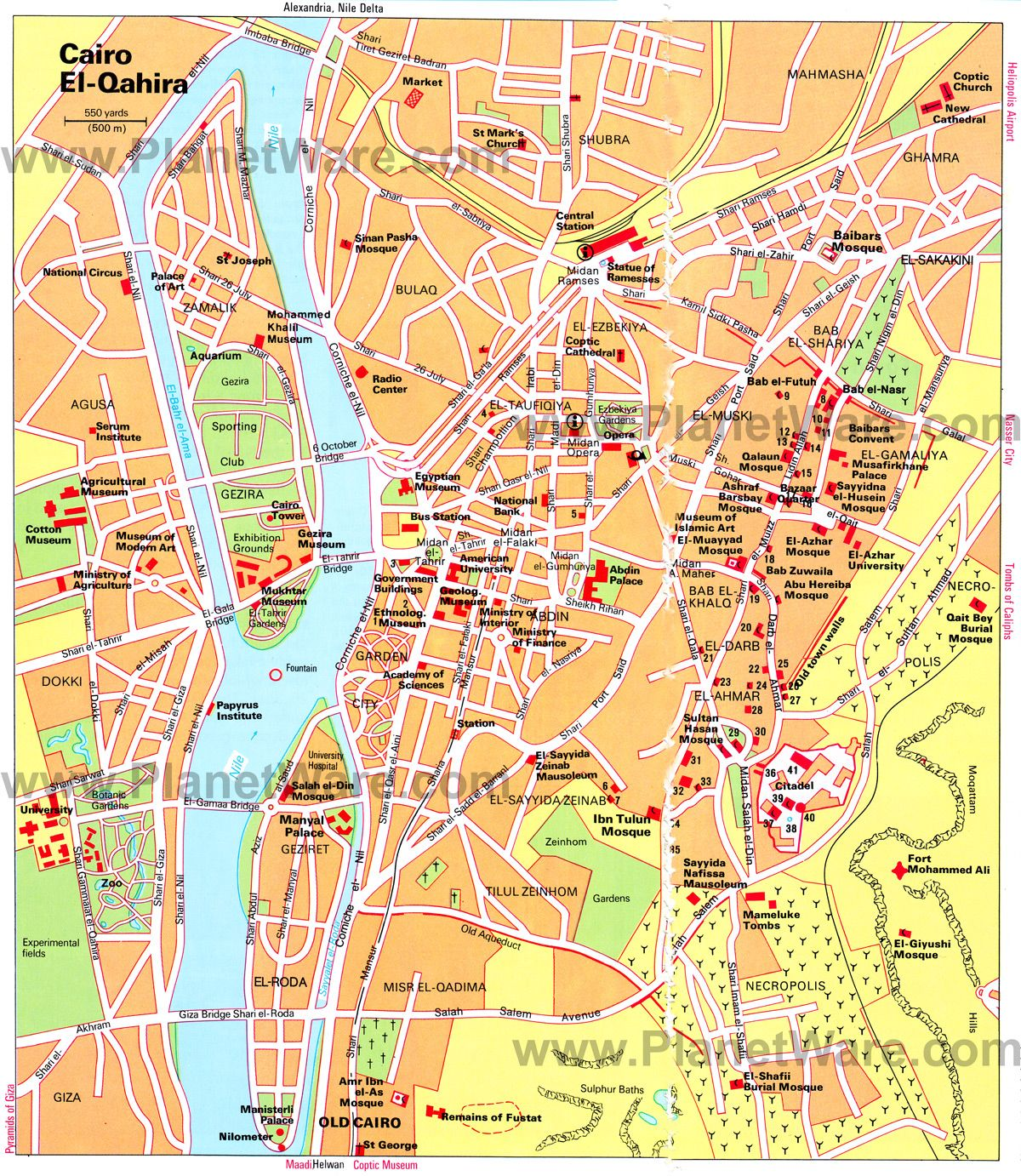 Cairo Map - Tourist Attractions | mytravel | Pinterest | Egypt map ...