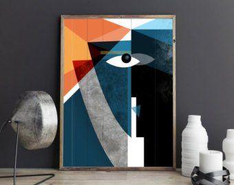 Krsna: Moderne Gesichter, geometrische Abstrakte Kunst, Zeitgenössische Kunst, Moderne Mitte des Jahrhunderts, Living Room Art, Home Decor, Art Collector, Farben