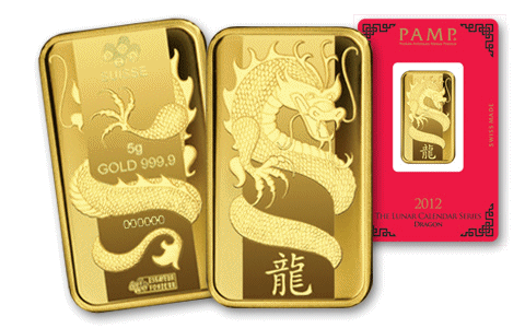 2012 NEW PAMP 1 OZ SILVER BAR SEALED LUNAR YEAR OF THE DRAGON 999 PURE