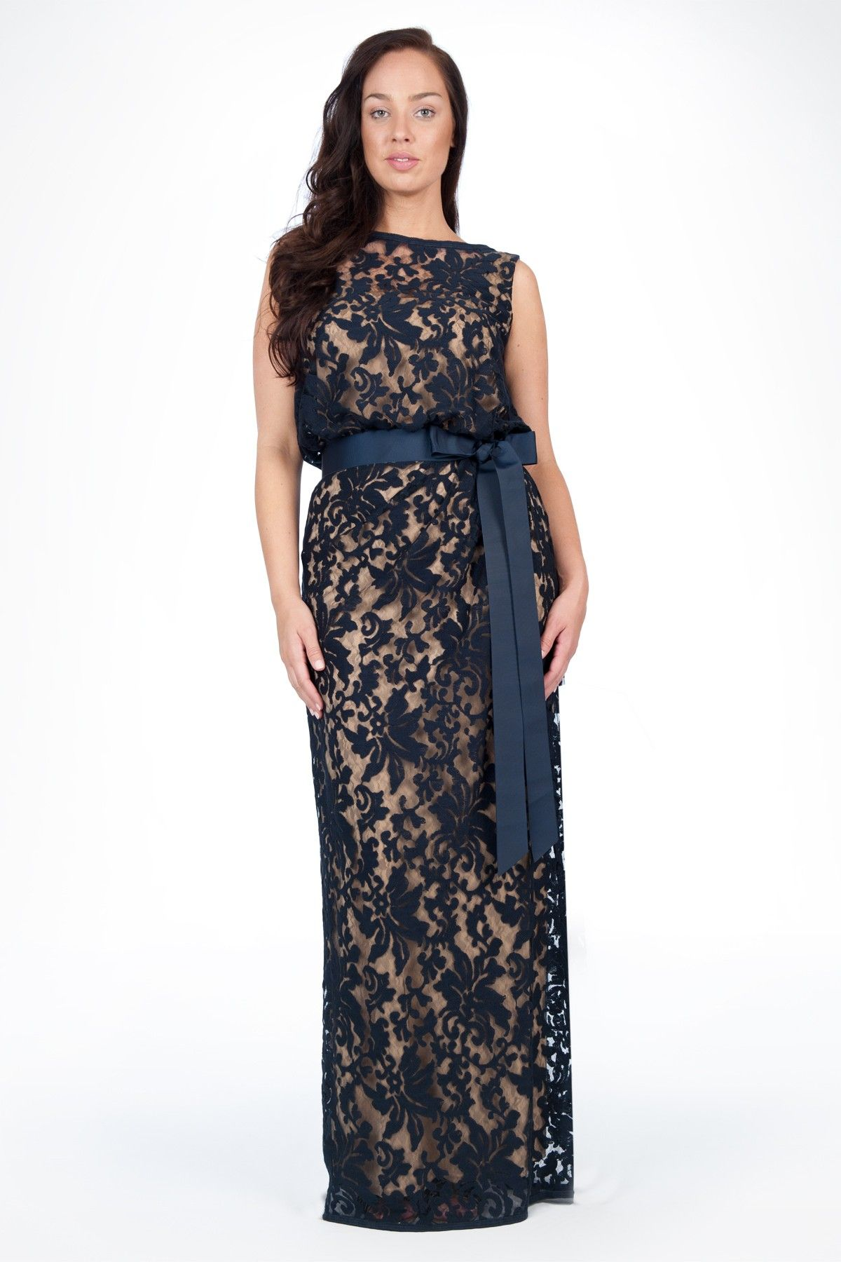 9cb5b31f662 Embroidered Lace Blouson Gown in Navy   Nude  PlusSize