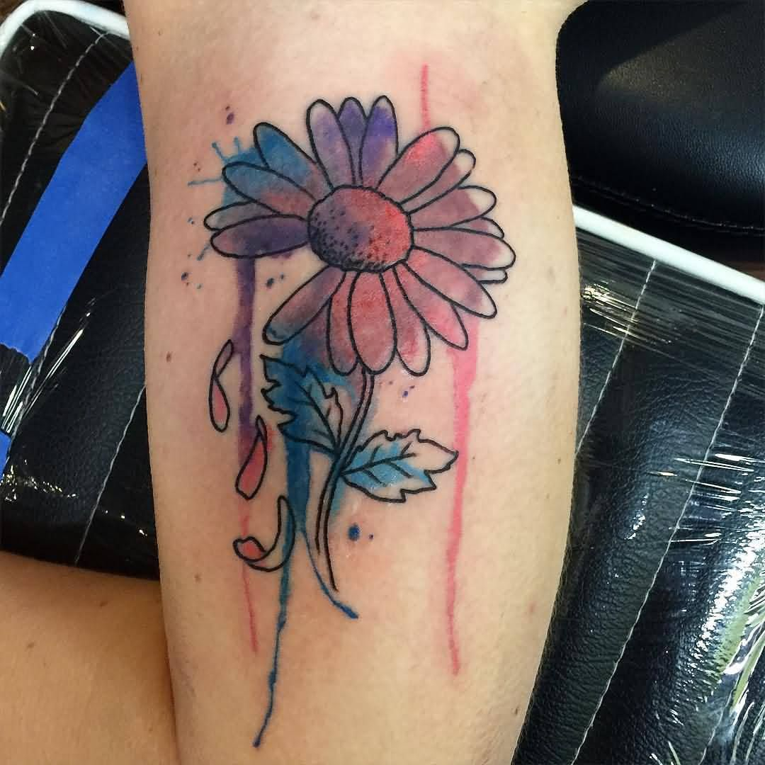 Watercolor Daisy Flower Tattoo Design For Half Sleeve