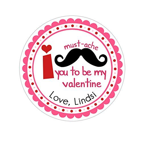 Personalized customized valentines day gift stickers pink red mustache round labels choose your size stickers valentines day designs pinterest