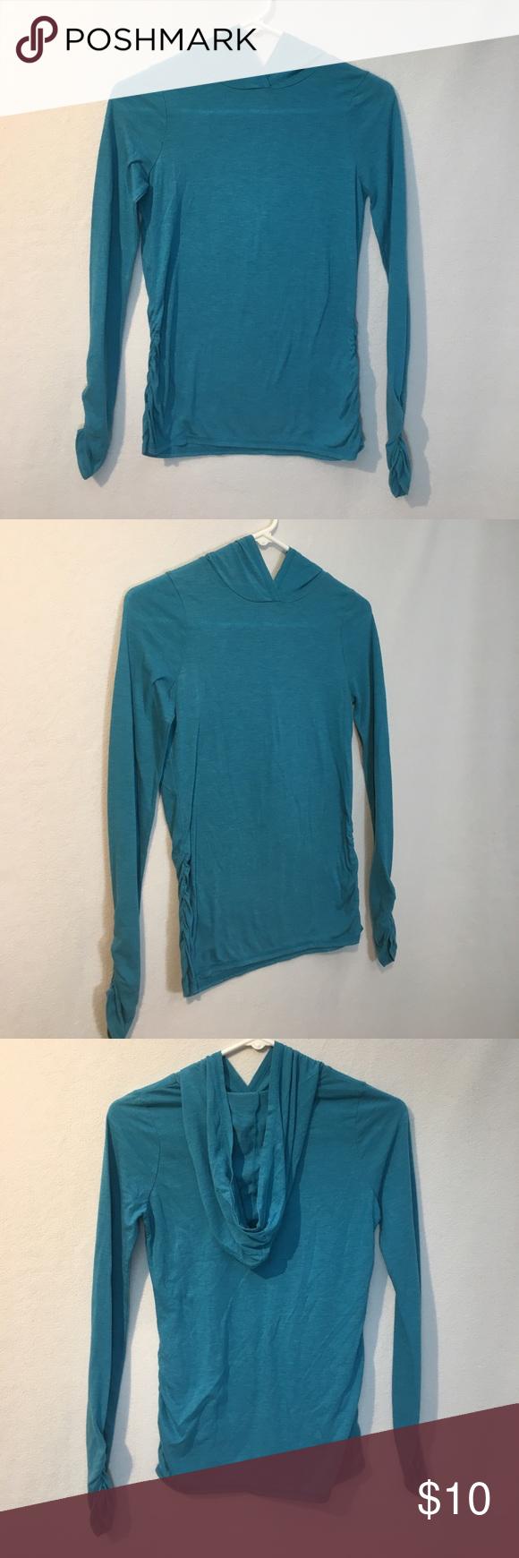 Zella Girl turquoise long sleeve hooded top Hooded tops
