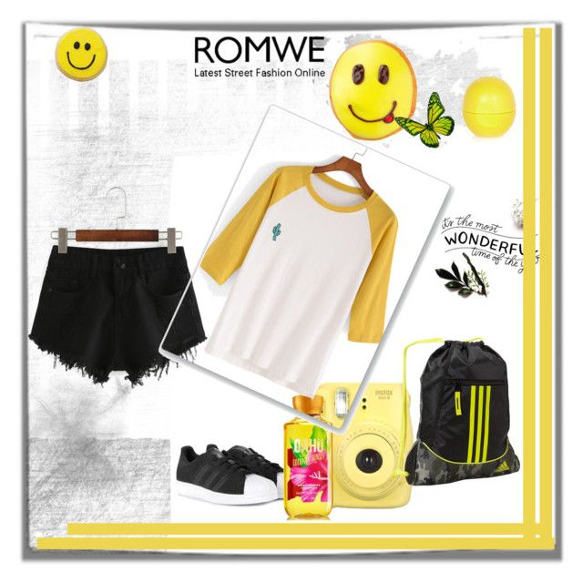 """""""Romwe T-Shirt"""" by dudavagsantos ❤ liked on Polyvore featuring adidas, River Island and romwe"""