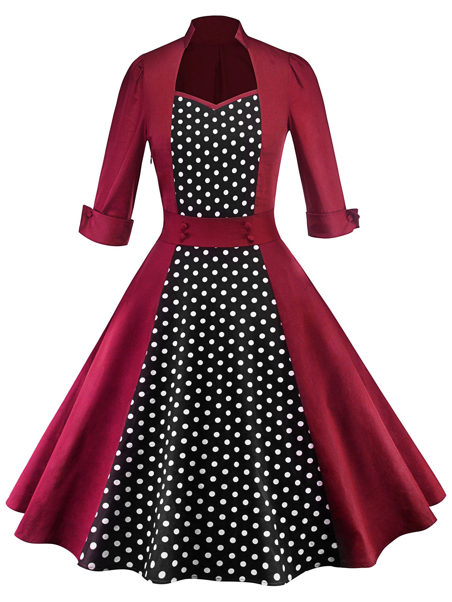 2e8cb4466cf6 50s Women Vintage Polka Dot Rockabilly Swing Pinup Evening Party Housewife  Dress Long Sleeve#Dot