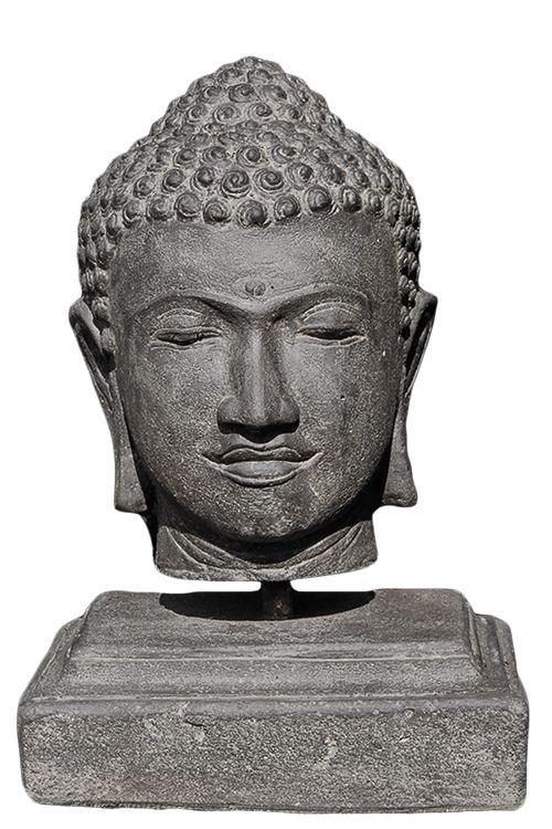 Boeddha Beeld Beton.Prachtig Gedetailleerd Boeddha Hoofd Op Betonnen Voet Voor In Uw