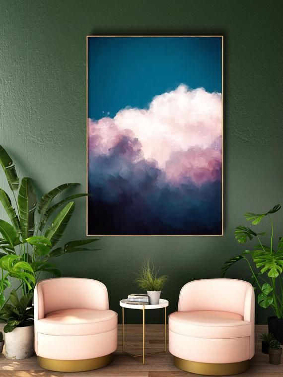 Photo of Cloud Painting Print, Cloud Print, Cloudscape Art Print, Large Wall Art, Abstract Wall Art, Pastel Art, Cloud Art READY to HANG ART