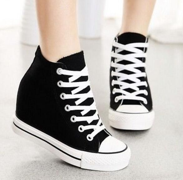 Chic Womens Hidden Wedge Heels Canvas High Top Sneakers Lace Up Trainers  Shoes