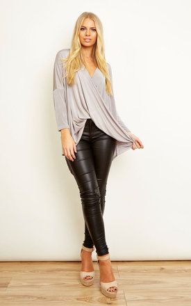 Silver Slinky Wrap Top - SilkFred