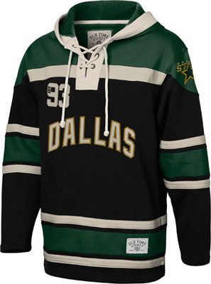 new product a8757 94217 Dallas Stars Black Old Time Hockey Lace Up Jersey Hooded ...