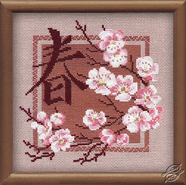 Japanese Cherry Blossoms Spring By Riolis Cross Stitch Flowers Cross Stitch Patterns Cross Stitch Fabric