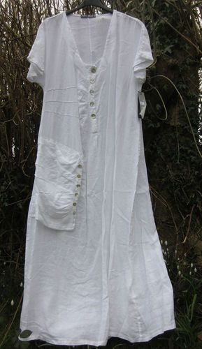 6f71f8f6ba3 ITALIAN LINEN MAXI DRESS BNWT 44 LAGENLOOK BOHO WHITE GREEN BLACK PINK  BEIGE
