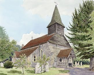 Bisley Church Near Woking Surrey - Church Art by John Lynch