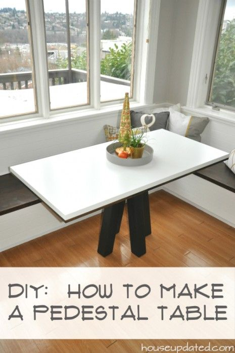 DIY How to Make a Modern Breakfast or Dining Table, White + Walnut